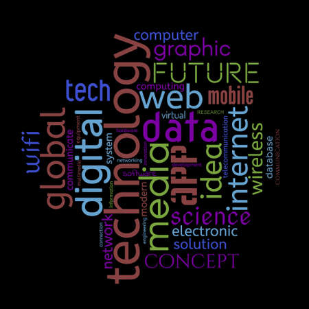 Technology word cloud. Innovative concept. Collage made of words. Vector colorful illustration. Isolated on black background.