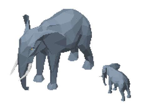 Pixelated polygonal elephant. Pixel Art 3d Vector illustration. Isometric projection. Isolated on white background.