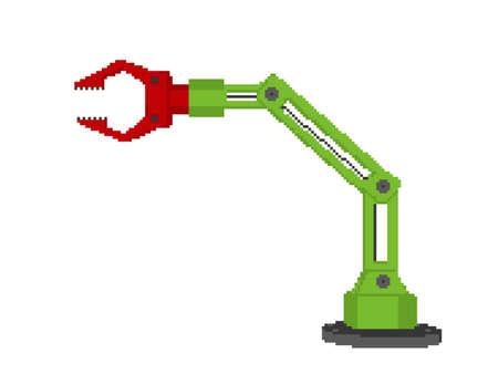 Pixelated Robotic arm. Pixel Art 3d Vector illustration. Isolated on white background. Illusztráció