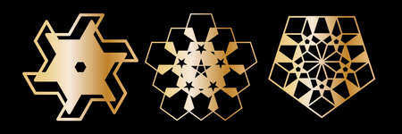 Abstract geometric ornamental mandala set. Template for printing, laser cutting stencil, engraving. Vector illustration.  Isolated on black background. Çizim