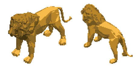 Pixelated lion. Pixel Art 3d Vector illustration. Isometric projection. Isolated on white background.