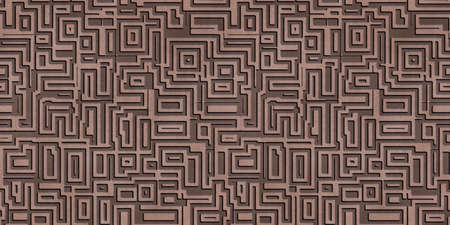 Abstract metal ornamental background. Seamless pattern. 3D Rendering illustration.