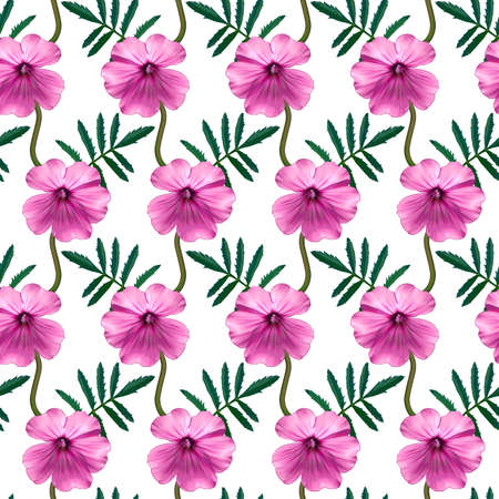 Seamless pattern with pink Geranium flowers and green leaves on white background. Endless colorful floral texture. Raster illustration.