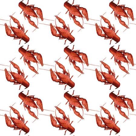 Seamless pattern with red crayfish on white background. Endless crawfish texture. Raster illustration.