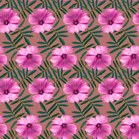 Seamless pattern with pink Geranium flowers and green leaves on red background. Endless colorful floral texture. Raster illustration. Stock fotó