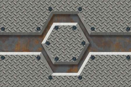 Abstract Metal textured Industrial background. 3D rendering illustration.