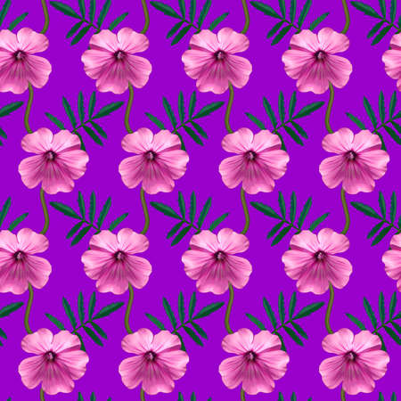 Seamless pattern with pink Geranium flowers and green leaves on purple background. Endless colorful floral texture. Raster illustration.