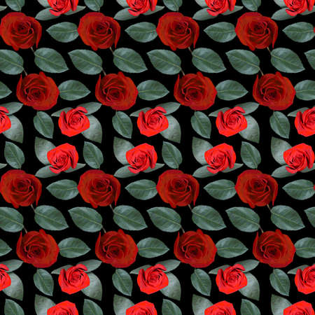 Seamless pattern with red rose flowers and green leaves on black background. Endless colorful floral texture. Raster illustration.