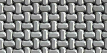 Metal ornamental background. Seamless pattern. 3D Rendering illustration.