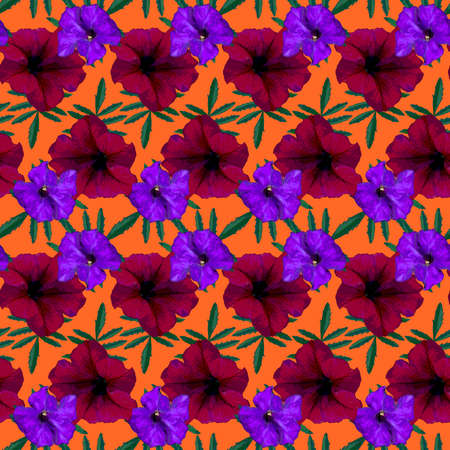 Seamless pattern with red, purple Petunia flowers and green leaves on orange background. Endless colorful floral texture. Raster illustration.