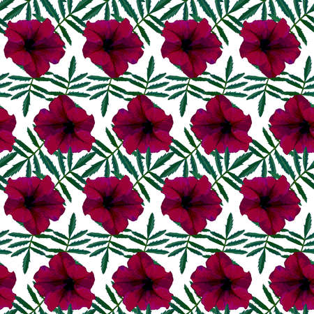 Seamless pattern with red Petunia flowers and green leaves on white background. Endless colorful floral texture. Raster illustration.