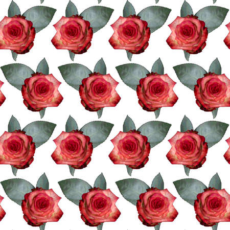 Seamless pattern with red rose flowers and green leaves on white background. Endless colorful floral texture. Raster illustration. Stock fotó