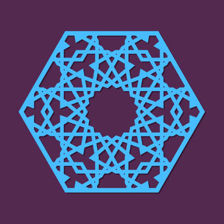 Cutout silhouette panel with ornamental geometric arabic pattern in form of hexagon. Template for printing, laser cutting stencil, engraving. Vector illustration.