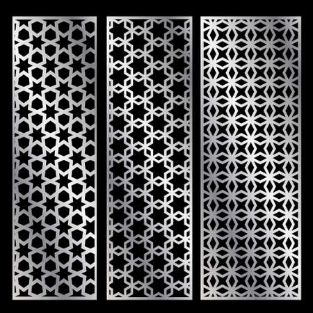 Cutout silhouette panels set with ornamental geometric arabic pattern. Template for printing, laser cutting stencil, engraving. Vector illustration. Isolated on black background. Illusztráció