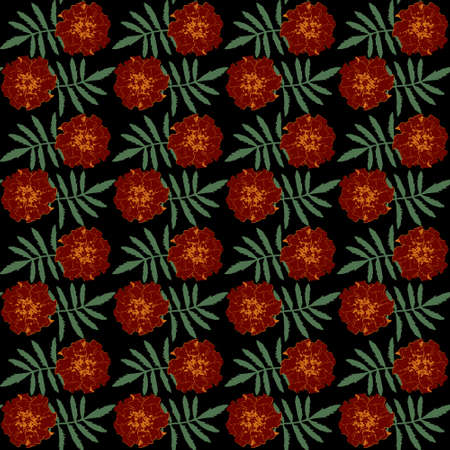 Seamless pattern with brown Tagetes patula (French marigold) flowers and green leaves on black background. Endless colorful floral texture. Vector illustration. Illusztráció