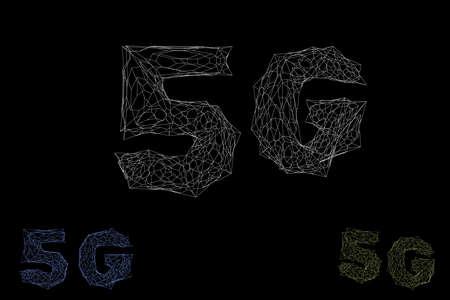 5G network sign. Wireless internet symbol. Vector wireframe outline 3d illustration.
