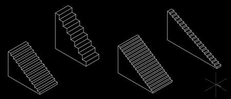 Stairway set. 3d Vector outline illustration. Isometric projection. Isolated on black background.