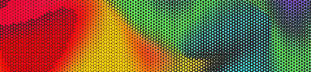 Abstract panoramic colorful halftone wide background. Panorama, Modern gradient Multicolor Backdrop with dots. Dotted soft lines pattern. Vector illustration.