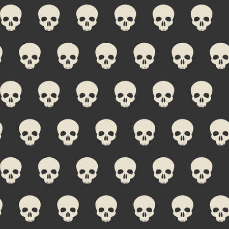 Seamless pattern with skulls. Ornamental background. Vector illustration. Endless texture.