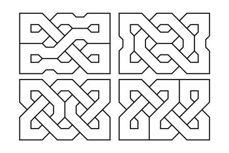 Celtic knot set. Medieval decorative ornament. Geometric Design Elements. Vector outline illustration.