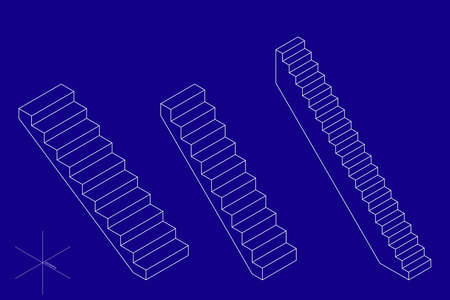 Stairway set. 3d Vector outline illustration. Isometric projection. Isolated on blue background. Stock fotó - 152689766