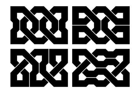 Celtic knot set. Medieval decorative ornament. Geometric Design Elements. Vector illustration.