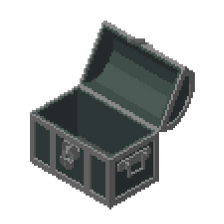 Opened empty Pixelated Treasure vintage wooden Chest. Pixel Art. Isometric projection. 3d Vector illustration. Isolated on white background.