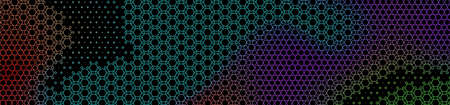 Abstract panoramic colorful halftone wide background. Panorama, Modern gradient Multicolor Backdrop with circles. Vector illustration.