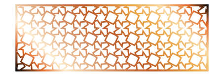 Cutout silhouette panel with ornamental geometric arabic pattern. Template for printing, laser cutting stencil, engraving. Vector illustration. Isolated on white background. Illusztráció