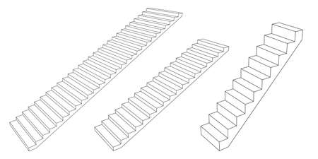 Stairway set. 3d Vector outline illustration. Isolated on white background. Illusztráció