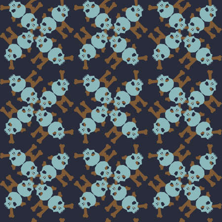 Seamless pattern with skulls and bones. Ornamental background. Vector colorful illustration. Endless texture.