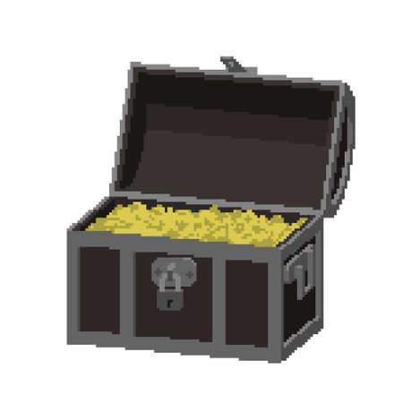Opened Pixelated Treasure vintage wooden Chest full of gold coins. Pixel Art. Dimetric projection. 3d Vector illustration. Isolated on white background. Illusztráció