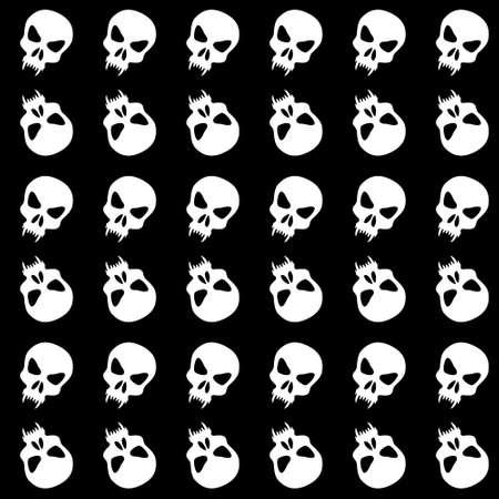 Seamless pattern with skulls. Ornamental black and white background. Vector monochrome illustration. Endless texture. Illusztráció