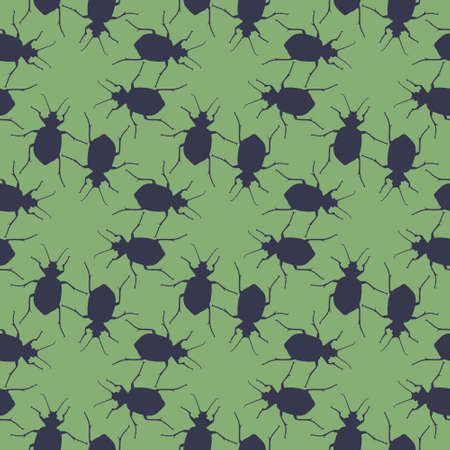 Seamless pattern with bugs. Endless background with beetles. Vector silhouette illustration. Illusztráció