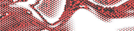 Abstract panoramic ethnic halftone background. Panorama, black white red color Backdrop with dots. Dotted soft lines pattern. Vector illustration.