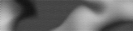 Abstract panoramic monochrome halftone wide background. Panorama, Modern gradient black and white Backdrop with dots. Dotted soft lines pattern. Vector illustration.