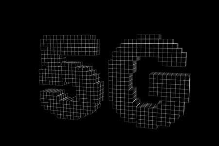 5G network sign. Wireless internet symbol. 3d voxel vector outline illustration.