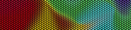 Abstract panoramic colorful halftone wide background. Panorama, Modern gradient Multicolor Backdrop with triangles. Vector illustration.