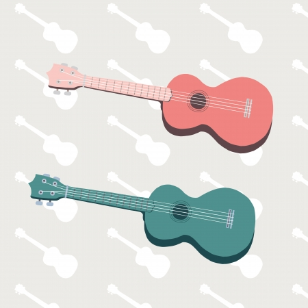 strum: Ukulele 2 colors on silhouette background