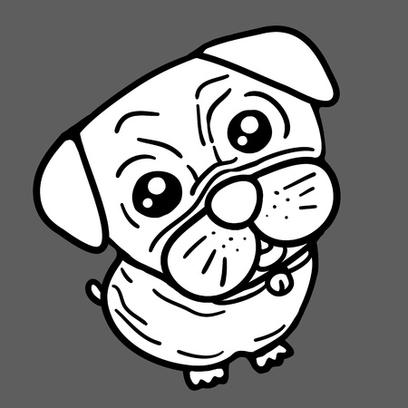Dog  Pug  in back and white Stock Vector - 17448902