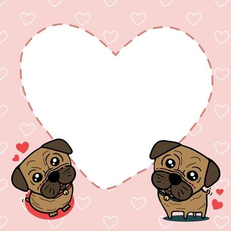 Dog  Pug  with sweet card Stock Vector - 17448900