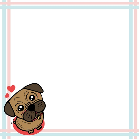 Dog  Pug  with paper note Vector
