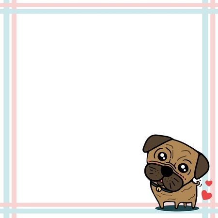 Dog  Pug  with paper note Stock Vector - 17448897