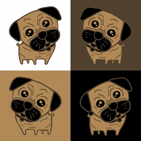 Dog  Pug  in 4 background colors Vector