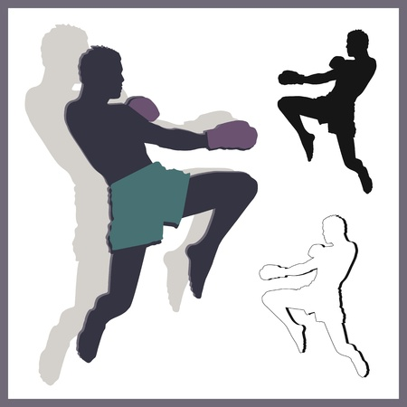 Flying knee of muay thai  Martial Arts  in silhouette Vector