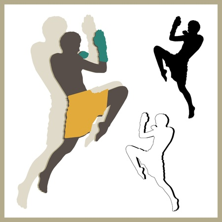 thai martial arts: Flying knee of muay thai  Martial Arts  in silhouette