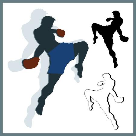 peleando: Flying rodilla de muay thai Artes Marciales en silueta