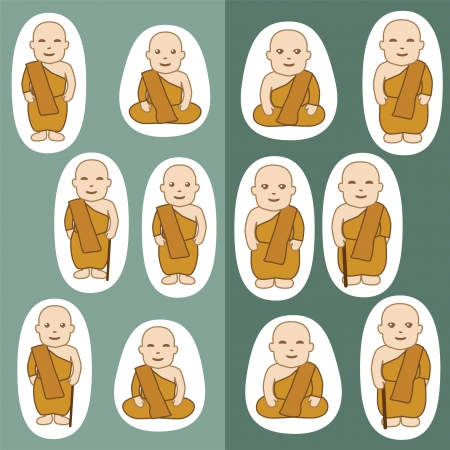 monk: Buddhist Monks cartoon in many actions