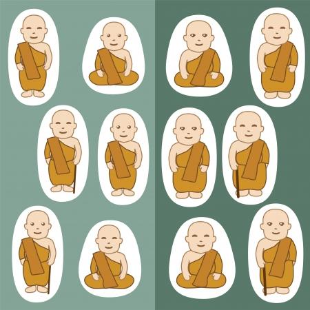 thai: Monaci buddisti cartone animato in molte azioni