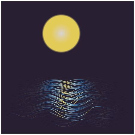 reflected: Full moon reflected on water at night Illustration